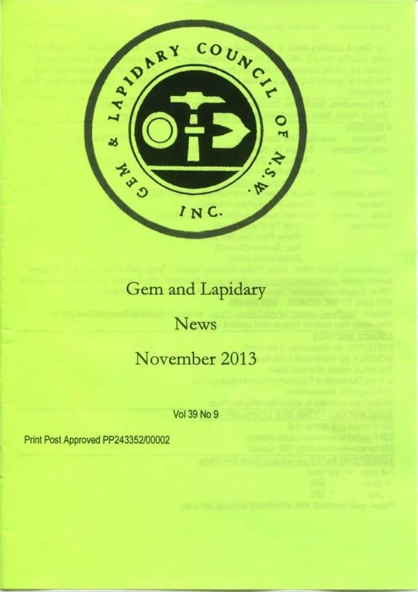Cover Gem Lapidary News 2013 11